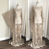 Vintage Sheer Beige Lace Maxi Dress CUT OUT Boho Hippy Crochet Wedding Gown
