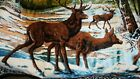 """Large Vintage Wall Hanging Rug Tapestry Buck Deer 49""""x70"""" made in Italy"""