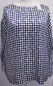 Damen Tunika 48/50,neu,100%Seide, weiß blau