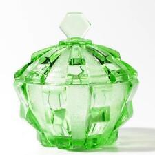 Vintage Czech Art Deco green glass geometric dressing table powder trinket box