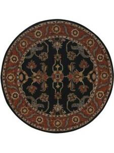 Traditional Vintage Style Oushak Oriental Hand-Tufted 6' Round Wool Area Rug
