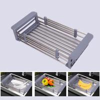 Stainless Steel Dish Drain Rack Telescopic Filter Basket Kitchen Sink Organizer