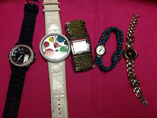Lot of 5 Geneva Platinum & Geneva womens watches,all run/look good          P129
