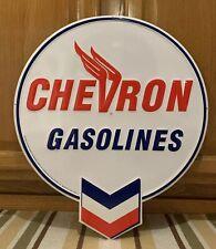 Chevron Gasoline Metal Sign Garage Vintage Style Wall Decor Tools Oil Bar Pub