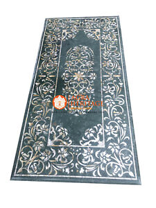 4'x2' Green Marble Dining Hallway Table Top Mother of Pearl Inlay Decor E1145