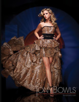 Tony Bowls MON CHERI TBE11135 Pageant Leopard Print Taffeta  Gown sz 0,6,10 NWT