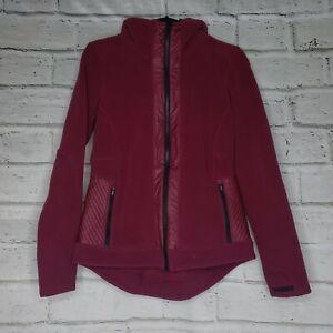 ATHLETA Womens Small Power Peak Jacket Double Zip Layered Fleece Berry Purple