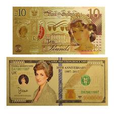 WR 24K GOLD Princess Diana Commemorative Pound Banknote Set Novelty Money 20YRS