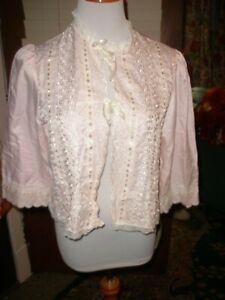 Vintage Night Flowers Pink Eyelet Nylon Blend Bed Jacket M
