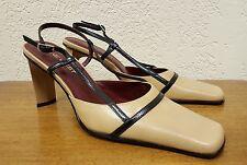 Women's NINE WEST Tan Leather Strappy Heel Pump - Size 6.5 M