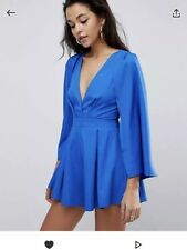 Parallel Lines ASOS Cobalt Blue Cape Long Sleeve Playsuit Size 8-10