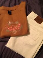 justice girls white shorts Size10r & GAP kids girls short sleeve shirt Size (12)