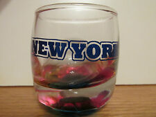 NEW YORK    MULTICOLORED       SHORT SHOT GLASS / TOOTH PICK HOLDER