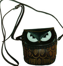 Real Leather Cross Body Mini Shoulder Bag, Dark-Brown Owl Face Cover