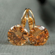 18k Gold GF Orange Diamond Simulant Drop Earrings