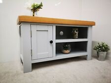 Grey Small TV Stand - Painted Oak Television Cabinet - Modern 90cm Media Unit