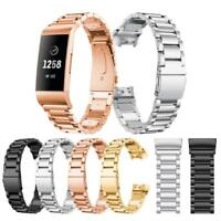 Stainless Steel Watch Band Wrist Strap+Connector for Fitbit Charge 3 Bracelet