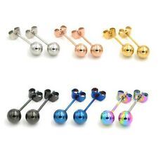New Unisex Plating Over Surgical Steel Stud Plain Ball Earring Studs One Pair
