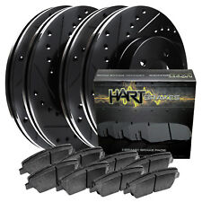 Fits Nissan Rogue, X-Trail Front Rear Black Drill Slot Brake Rotors+Ceramic Pads