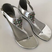 7baa699e8739a Dyeables Cleo Silver Metallic Sandals Size 8 Faux Jewels Low Wedge Heel Prom