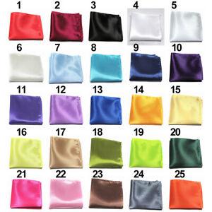 Men Satin Solid Plain Color Handkerchief Hanky Pocket Square Wedding Party Dote