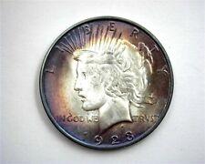 1923-D PEACE SILVER DOLLAR GEM UNCIRCULATED IRIDESCENT TONING!! BETTER DATE!!