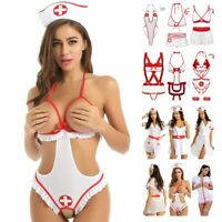 Women Sexy Nurse Cosplay Costume Uniform Party Crotchless Fancy Dress Outfit