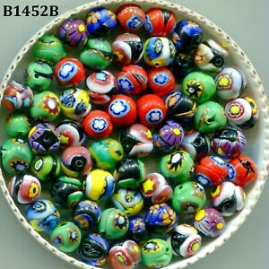 Vintage Millefiori Beads Venetian Murano  7mm Art Glass Assorted Colors B1452B