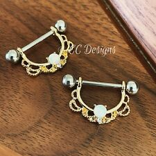 14g Pair Of Dangle Gold Opal Sparkle Nipple Ring (#428)