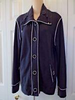 Womens Black & White Jones New York Signature Cotton Casual fleece jacket Size