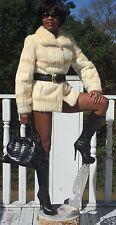 Designer Alan Cherry Cream white Mink Fur coat jacket bolero stroller  S 0-6
