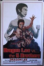 Dragon Lee Vs. The 5 Brothers Martial arts movie poster 1978  Fury Films