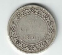 NEWFOUNDLAND 1894 50 CENTS QUEEN VICTORIA CANADIAN STERLING SILVER COIN