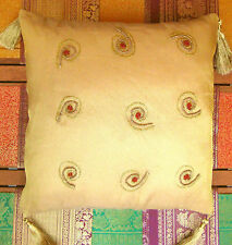 Kissenhülle Dekokissen Kissenbezug gold 40x40 indisch Sari Indien Bollywood A