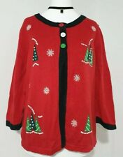 Ladies RARE Vintage Christmas Tree Cardigan 3/4 Embroidered UK-10/12 Knitted