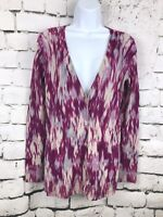 Ann Taylor Womens Purple 100% Extra Fine Merino Wool Long Cardigan Sweater S