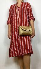 Zara Woman Rusty Copper White Striped Knee Shirt Dress Sz XS 6 8 10 Holiday