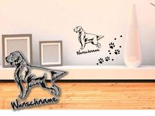 Wandtattoo English Setter  H167 Hundepfoten Wunschname Tatze