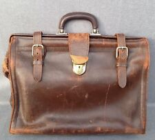 Antique french mid-1900's handbag purse business bag made of brown leather