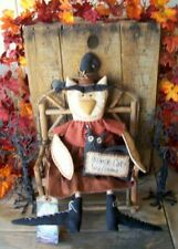 "PriMiTiVe Halloween Owl Witch Art Doll Pet Black Cat Welcome ""Hooty and Boo"""