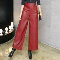 Lady Wide Leg PU Faux Leather Pants Trousers High Waist Black Casual Fashion Hot