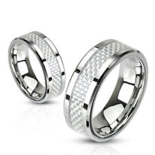 6mm White Carbon Fiber Inlay Band Ring Stainless Steel Wedding Band