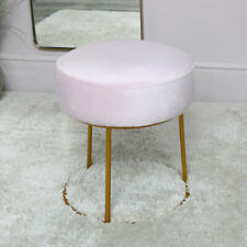 Pink Velvet Stool with Round Gold Base modern luxury vintage bedroom chair seat