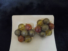 """Vintage Costume Jewlery Earrings """"CLIP ON"""" Assorted Color Cluster GOld Tone 1"""""""