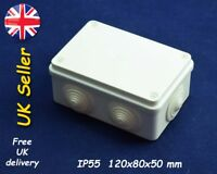 Junction box weatherproof adaptable enclosure 120x80x50mm IP55 White, grommets