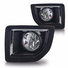 Black / Chrome Bezel Clear Lens Fog Light Lamp Kit For 15-16 GMC Sierra 2500