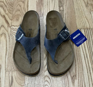 BIRKENSTOCK Men's Como Leather Flip Flop Sandals Iron Grey Sz 44 / 11 US $130