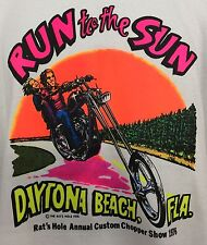 Run To The Sun Biker Bike Week Daytona Beach FL T Shirt Vintage Iconic 1976 XL