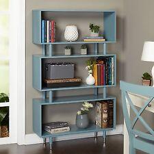 Teal Bookshelf Cool Modern Decor 3-Shelf Blue Bookcase Pop of Color Accent Piece
