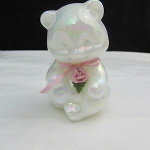 Fenton Pearly Sentiments Pink Ribbon and Pink Rose Sitting Bear 1988 C2698